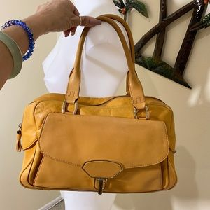 Cole Haan mustard yellow gold hardware handbag